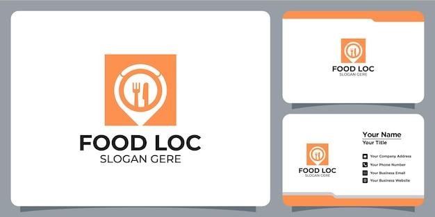 Comida minimalista e logotipo de localização com a marca do cartão de visita
