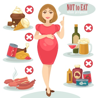 Comida não saudável para mulher grávida.