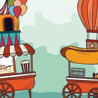 Comida no estande do parque de diversões