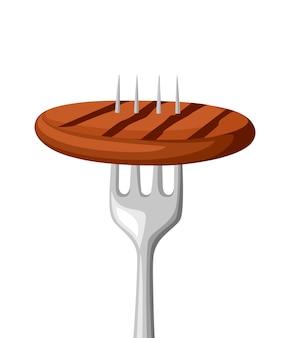 Comida no garfo. carne frita em garfo de aço inoxidável. alimentos grelhados. ilustração em fundo branco.