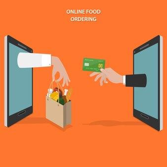 Comida on-line, ordenando o conceito plana.