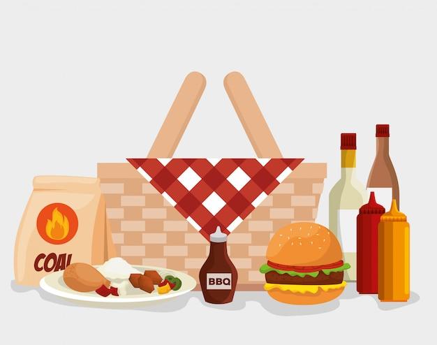 Comida para churrasco com cesta