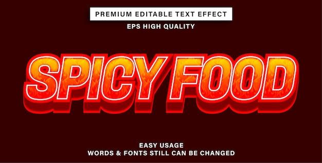 Comida picante com efeito de texto editável