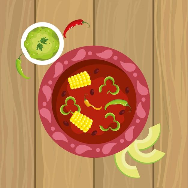 Comida picante mexicana com molho e abacate