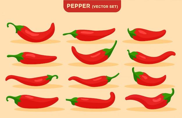 Comida picante, molho suave e extra quente, pimenta vermelha.
