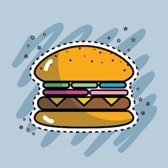 Comida rápida de hambúrguer saboroso e fresco