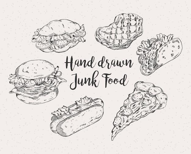 Comida rápida desenhada mão