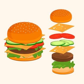 Comida rápida. ilustração de ingredientes de hambúrguer.