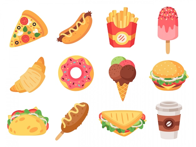 Comida rápida. junk food e lanches, hambúrguer, taco, batata frita, donut e pizza alimentos de alta caloria. doodle conjunto de ícones de fast-food. ilustração de cachorro-quente e croissant, lanche e sanduíche