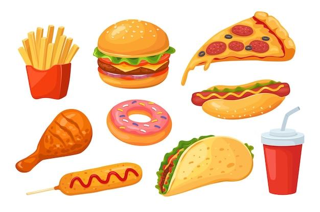 Comida rápida. pizza e hambúrguer, coca-cola e cachorro-quente, frango e donut, sanduíche e cachorro-quente. conjunto de fastfood de desenho animado isolado.