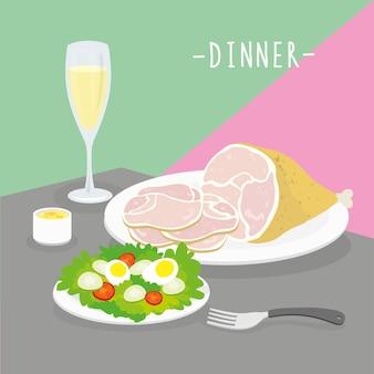 Comida refeição jantar laticínios comer bebida menu restaurante vector