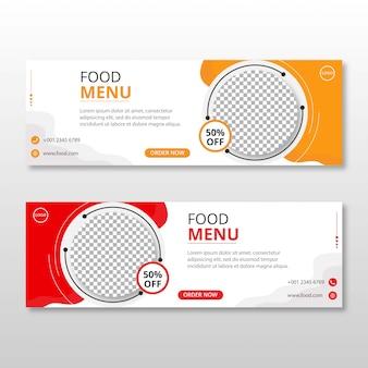 Comida restaurante mídia social postar capa do facebook timeline web ad banner template