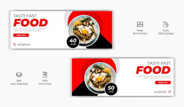 Comida restaurante venda oferta mídia social postar facebook capa página cronograma site on-line modelo de banner