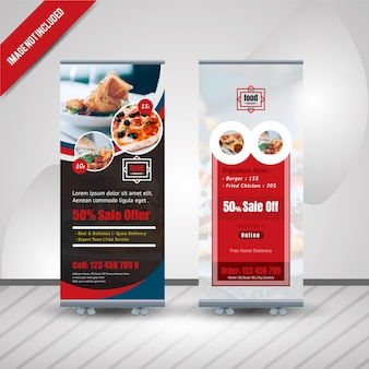 Comida roll up banner design para restaurante
