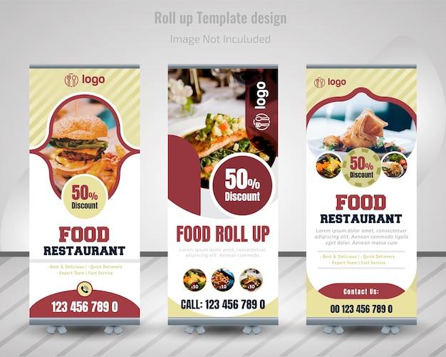 Comida roll up banner design para restaurante