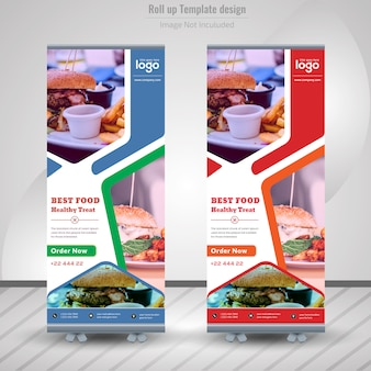 Comida roll up banner para restaurante
