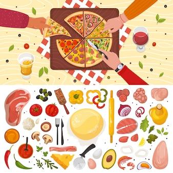 Comida saborosa pizza com vários ingredientes, tomate, queijo, cogumelo, pimenta na ilustração vista superior branca. cozinha de cozinha italiana de pizza com diferentes coberturas, mesa de restaurante.
