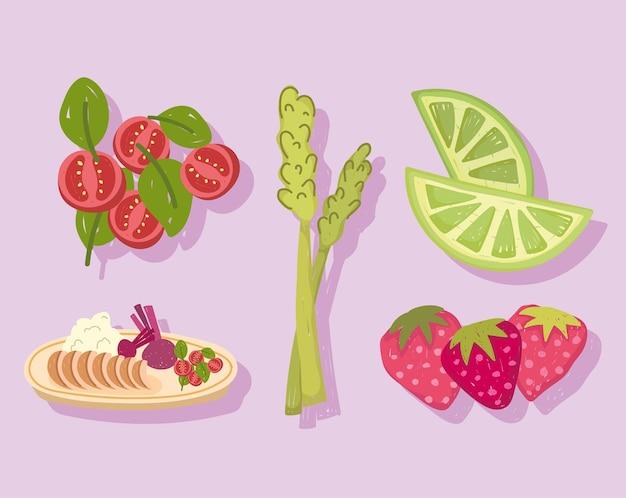 Comida saudável, aipo, morango, limão, tomate e ilustração de jantar