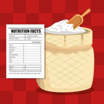 Comida saudável com fatos nutricionais