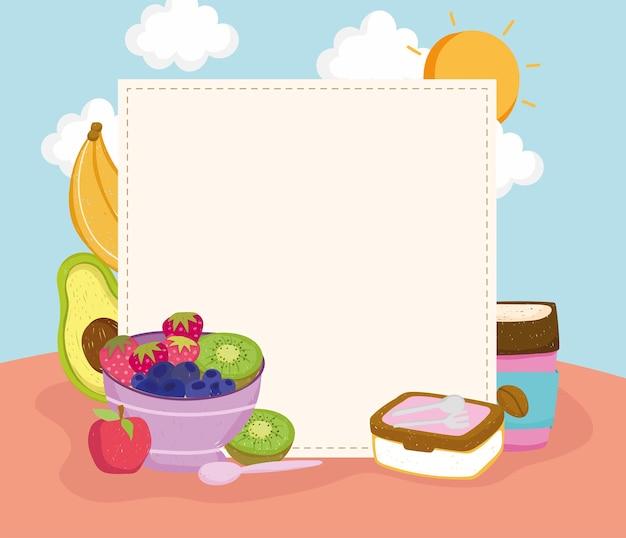 Comida saudável com um banner