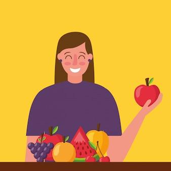 Comida saudável de pessoas