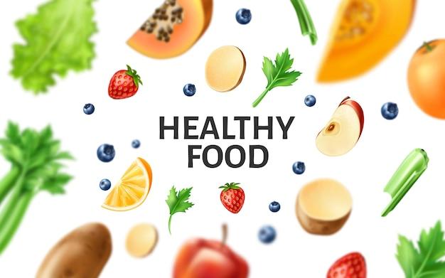 Comida saudável de vetor, frutas orgânicas na mesa de madeira