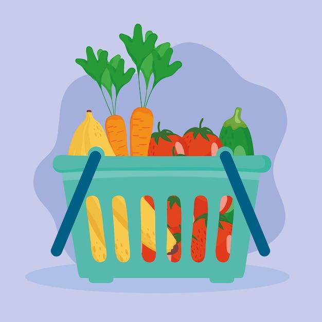 Comida saudável dentro da cesta
