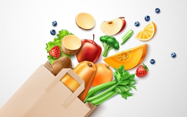 Comida saudável, frutas orgânicas em sacola de compras