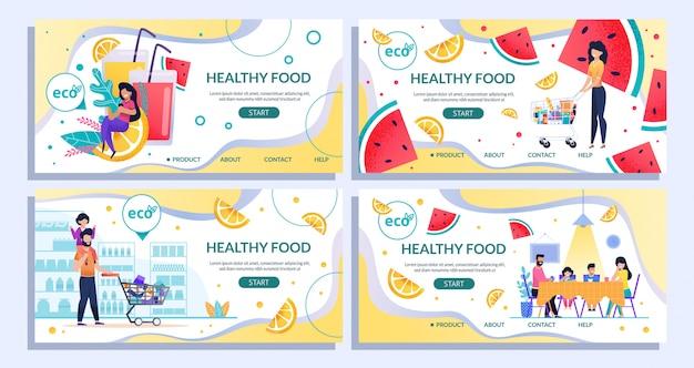 Comida saudável landing page definido para compras on-line