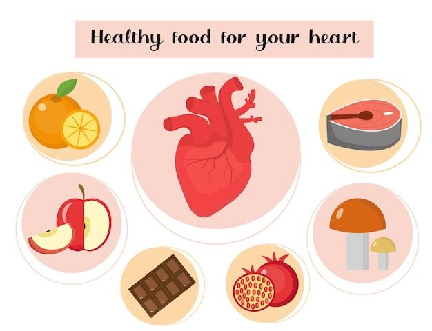Comida saudável para o seu infográfico de coração.