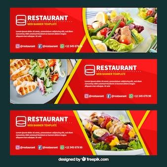 Comida saudável restaurante web banner coleção com foto