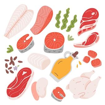 Comida saudável salmão e carne de cordeiro ingredientes para cozinhar