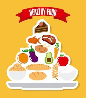 Comida saudável sobre ilustração vetorial de fundo amarelo