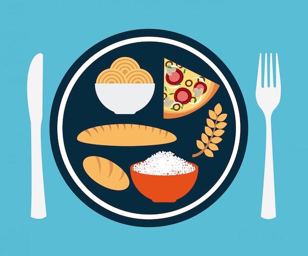 Comida saudável sobre ilustração vetorial de fundo azul