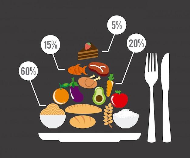 Comida saudável sobre ilustração vetorial de fundo cinza