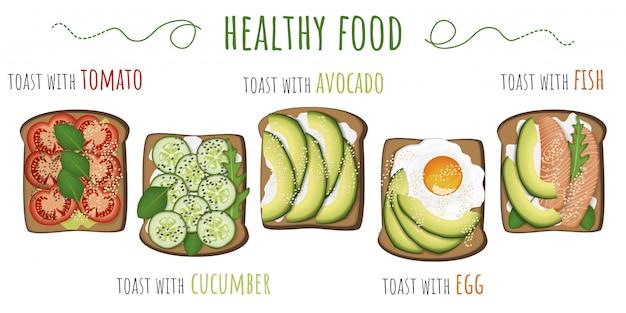 Comida saudável. torradas com abacate, tomate, ovo frito, pepino e peixe