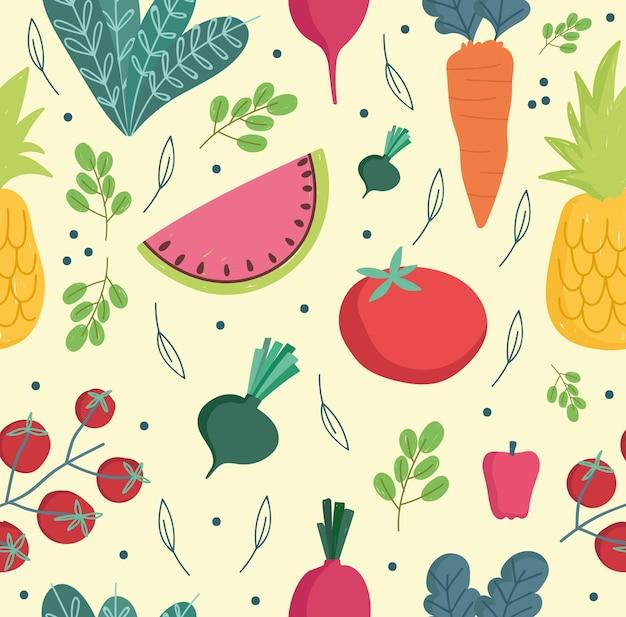 Comida sem costura padrão vegetais frescos e frutas ingredientes cozinhando