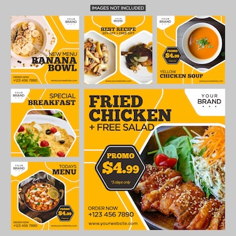 Comida social media post design template fundo amarelo
