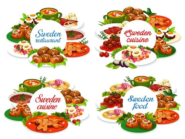 Comida sueca em volta de banners com sopa de ervilha ou salmão