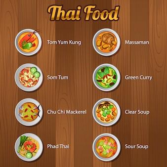 Comida tailandesa deliciosa e famosa