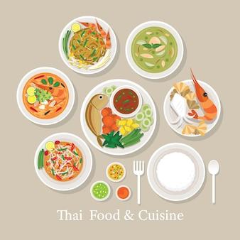 Comida tailandesa e conjunto de cozinha, menu tradicional, favorito, com arroz