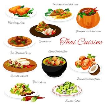 Comida tailandesa e menu de cozinha tailandesa