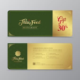 Comida tailandesa e modelo de design de voucher de oferta de restaurante tailandês Vetor Premium