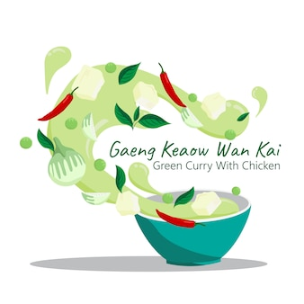 Comida tailandesa gaeng keaow wan kai. caril verde com design de vetor de frango.