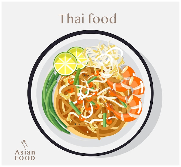 Comida tailandesa pad thai, conceito de vista superior da ilustração