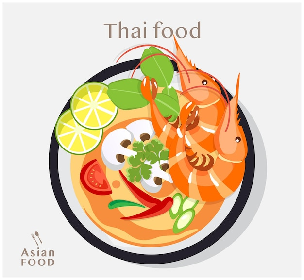 Comida tailandesa tom yum kung, sopa com camarões, ilustração plana