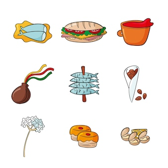 Comida típica de malaga desenhada à mão