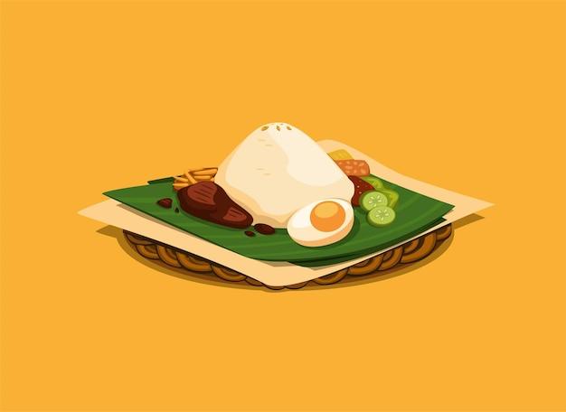 Comida tradicional asiática com arroz com acompanhamento servido em folha de bananeira e ilustração em placa de rattan