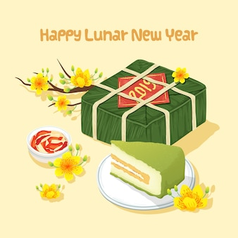 Comida tradicional do ano novo lunar do vietnã