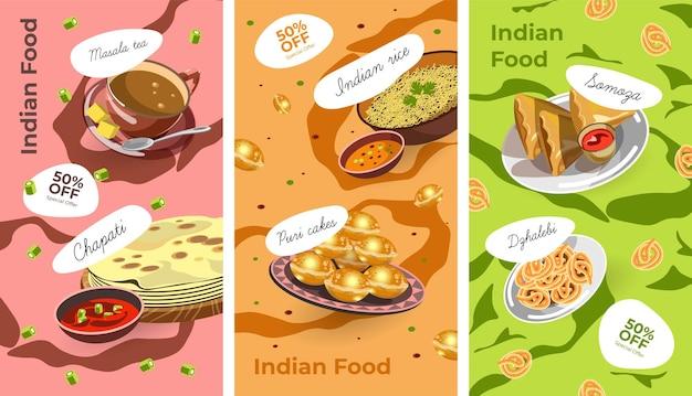 Comida tradicional indiana e pratos servidos com redução de 50%. chapati, chá masala, bolos puri, arroz e dzhalebi, sobremesa de samoza. banner promocional, cardápio de cafeteria ou restaurante. vector no plano
